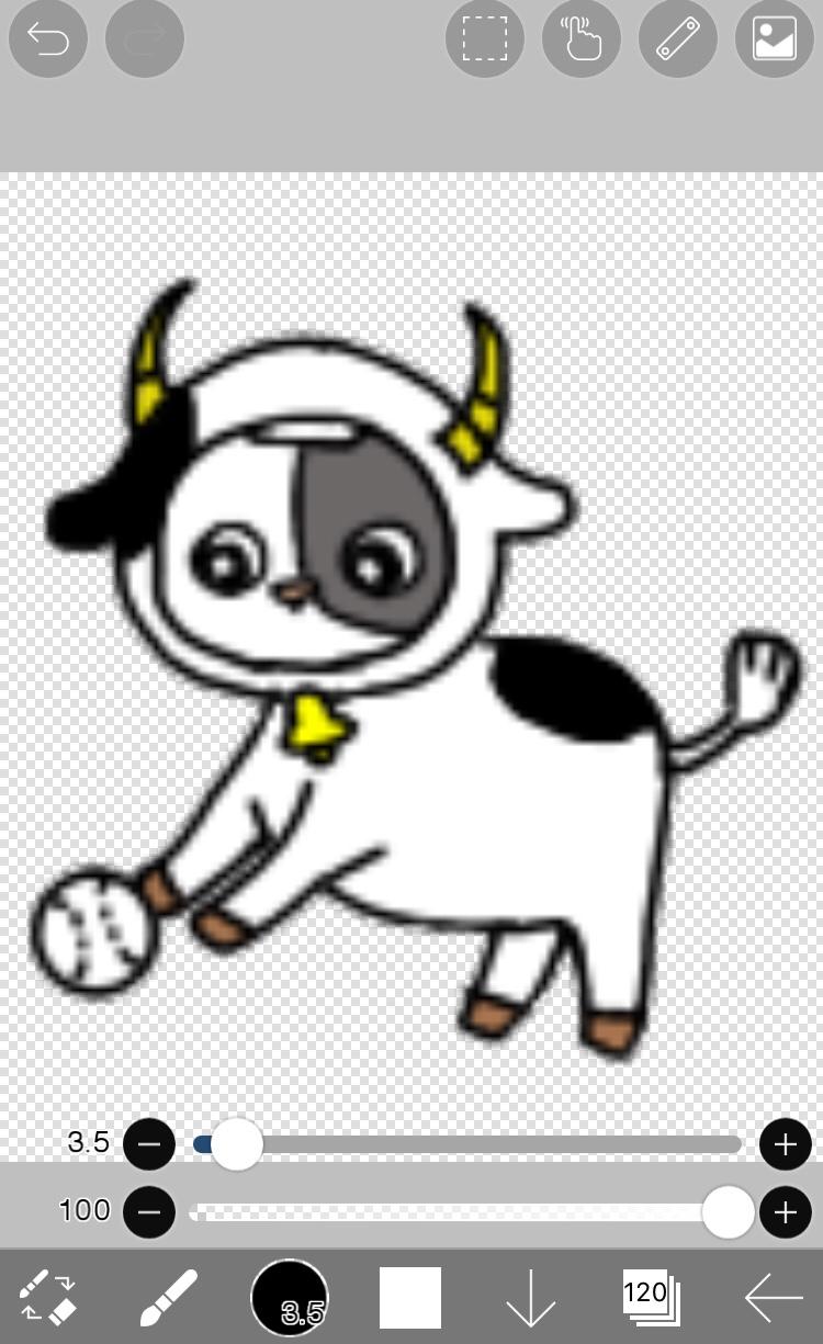 LINE着せ替えのボールを転がす牡牛のイラストアイビスペイントで完成